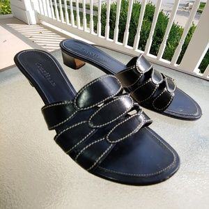 Cole Haan Resort kitten heel leather black sandals